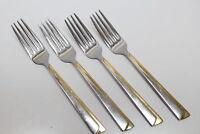 4 Vtg International Silver Alliance Stainless Steel Flatware Dinner Forks