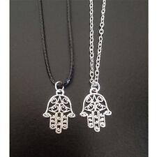 Hamsa Hand Fatima Protection Charm Pendant Genuine Leather Link Necklace Chain