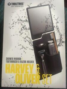 TOOLETRIES Harvey & Oliver Set Shower Mirror Toothbrush & Razor silicone Holder