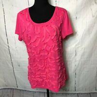 Isaac Mizrahi Womens Blouse Size Extra Large XL Short Sleeve Tshirt Soutache