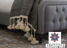 MOROCCAN POM POM BLANKET XLARGE KING BED SIZE WOOL BED SPREAD BOHEMIAN STYLE