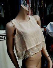 BNWT Lush Crop Blouse Vest Blush Nude Colour  Lace & Crochet Sz S