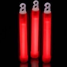 """200 6"""" RED Glow Sticks 15mm Bulk Wholesale Pack w/ FREE 100 Glow Bracelets"""