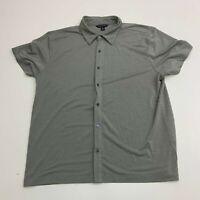 Banana Republic Button Up Shirt Mens XL Gray Rayon Blend Short Sleeve Casual