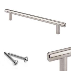 Brushed Steel T Bar Handles Kitchen/Cabinet/Door/Cupboard/Drawer/Bedroom T-Bar
