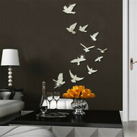 DIY Removable Home 3D Mirror Wall Stickers Decal Art Vinyl Room Decor Birds Fun