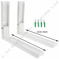 2 x White Microwave Wall Mounting Extendable Arm Brackets For Russell Hobbs