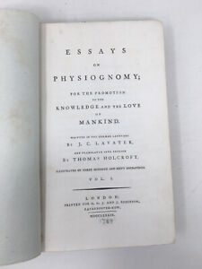 Publ 1789  Essays on Physiognomy  by J C Lavater Transl Holcroft  Poor Condition