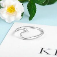 Women Ring Wave Shape Simple Style 925 Sterling Silver Size 5 6 7 8 9 10 Jewelry