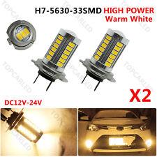 2 X H7 5630 33-SMD LED Car Lens DRL Fog Headlight Light Bulbs 12-24V Warm White