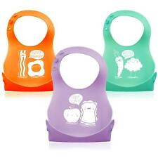 3 Pack Soft Silicone Roll up Baby Toddler Bibs Food Catcher Pocket Waterproof