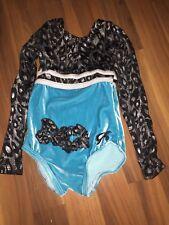 Gk Elite Leotard Cxs Child Extra Small Long Sleeve Leopard Teal Black Gymnastics