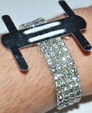 1 Silver Rhinestone Flower Corsage Wristlet Wristband Stretch Holder Wedding