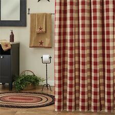 RED CREAM CHECK SHOWER CURTAIN : COUNTRY COTTAGE PLAID CABIN WICKLOW