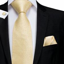 Mens Skinny Neck Tie CREAM GOLD Silky Shiny Slim Everyday Office Party Wedding