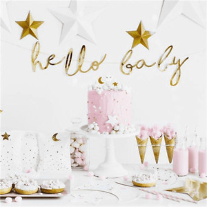Baby Shower Party Gold Hello Baby Foil Letter Banner Gender Reveal Decorations