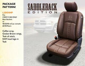 2013-18 Dodge Ram Crew Cab Saddleback Canyon Brown Leather Seat Covers Logos