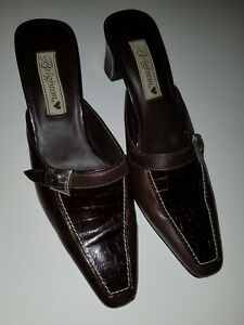 """Brighton """"York"""" Silver Buckle Brown Leather Croc Mules Heels Shoes 9M Brazil"""