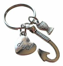 - Hooked on You Dad; Father's Keyc Dad Fish Hook Keychain with Little Fish Charm