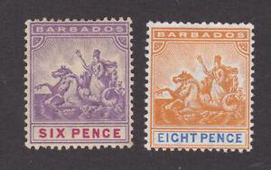 Barbados 1892-1903 Mint MH Definitive Britannia Six & Eight Pence SG111-112