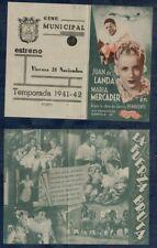 Programa publicitario de CINE. LA FUERZA BRUTA. Juan de Landa y Mª Mercader.