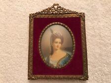 Antique 19thc Miniature Portrait Painting Women Framed