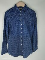 Kew Jigsaw Blue Long Sleeve Printed Cotton Fitted Shirt Blouse Size S 10