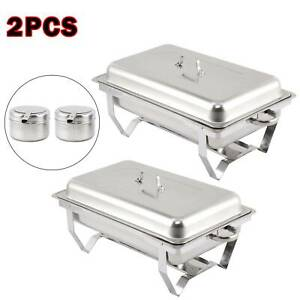 PACK OF 2 STAINLESS STEEL CHAFING DISH SETS WITH 9L FOOD PANS FUEL SPOONS