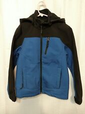 Youth Boys Snozu Soft Shell Hooded Zip Up Jacket Size Medium 10/12 Blue o9