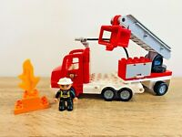 LEGO Duplo Fire Truck & Trailer Ladder Fireman Water Hose Flame Set