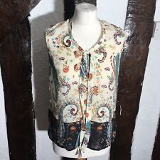 Monsoon Paisley Print White Blouse Shirt Size 10 Pussybow