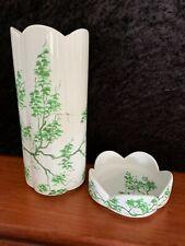 Vase Bertinazzo Italy Ceramic Hand Painted No 7009 Green On White