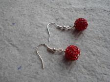 Handmade ~ Earrings ~ 10mm Red  ~ Disco ~ Shambala Beads