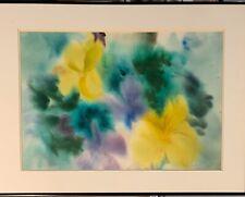 ORIGINAL WATERCOLOR - ELEANOR PRICE ? YELLOW VIOLET FLOWER FLORAL ART