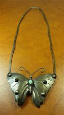 """Large 1930's Sterling Silver & Opal Butterfly Pendant 3-1/4"""", 18"""" Chain Necklace"""