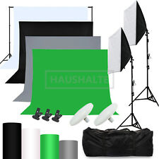 Hintergrundsystem Fotostudio Set Softbox Fotoleinwand LED Studioleuchte Stativ