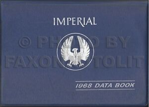 1968 Imperial Data Book Dealer Album LeBaron Crown Chrysler Accessories Facts