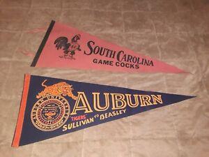 "(2) Vintage College  Pennants ! AUBURN- ""SULLIVAN TO BEASLEY "" & SC GAMECOCKS !"