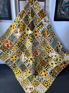 Sunflowers & Sunshine Xl Rag Quilt Throw Happiness Wrapped In Cotton HM NEW