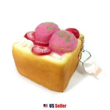 Japanese Scented Toast Squishy Key Chain Bag Accessories 1pc : Strawberry