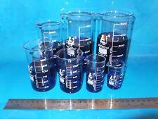 Set of 7 Quality TALL FORM LabGlass Beakers Borosilicate Glass Laboratory Beaker