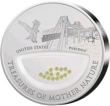 """2012 $1 TREASURES OF MOTHER NATURE """"PERIDOT"""" USA PROOF Silver Coin."""