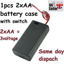 Black Plastic Battery Case Holder w switch 2 x 1.5V or 3.2 - 3.7V AA 14500 UK