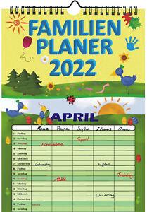 Familienplaner 2022 mit 5 Spalten Familienkalender A4 Terminplaner Wandkalender