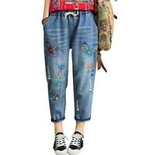 Duberess Womens Sz S M Denim Embroidered Jeans Baggy Cropped Elastic Waist NWT