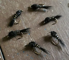 One dozen (12) Black Hare's Ear Nymph Size 10 Fishing Flies from USA