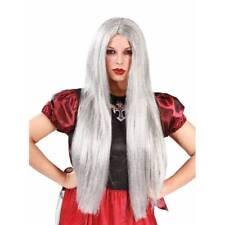 Larga Recta Gris Peluca Mujer Bruja Halloween Accesorio de Disfraz