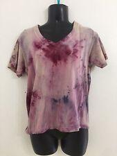 Hand Dyed Original Woman's Med M Vneck Short Sleeve Tshirt Hippie Grunge Top