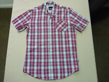 055 MENS NWOT ZOO YORK DARK RED / PALE BLUE CHECK S/S SHIRT SML $100.