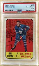 Tim Horton 1967/ '68 Topps #16 Graded PSA 8.5 NM/MT+ Toronto Maple Leafs